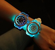 Unisex Round Dial Luminous Silicone Band Fashion Quartz Watch (Assorted Colors)