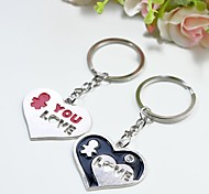 Personalized Engraving Heart Love Metal Couple Keychain