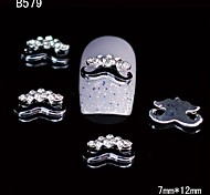 10pcs Beauty Black Moustache 3D Alloy Nail Sticker Rhinestone DIY Nail Art Decoration