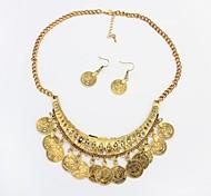 belíssimas moedas forma strass arco das mulheres borla colar brincos set