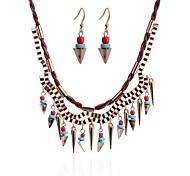 Lureme®Simple Style Weave  Jeruk Pendant Bead Alloy Necklace Earrings Suit