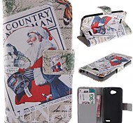 Santa Claus Design PU Leather Full Body Case with Stand and Card Slot for LG L90 D405