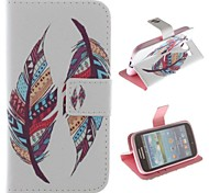 Colored Feather Patterns PU Leather Full Body Case with Stand and Card Slot for Samsung Galaxy Core I8262