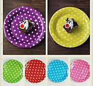 "10pcs 9"" Polka Dot Paper Plates Happy Birthday Wedding Baby Shower Christmas Party Tableware"