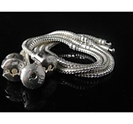 Wholesale 5pc 925 Sterling Silver Plated Snake Chain for European Charms Bracelet 7.5""
