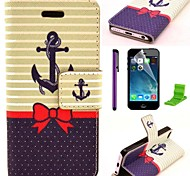Bowknot Ships Anchor Pattern PU Leather Case with Screen Protector and Stylus for iPhone 5C