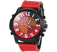 grande orologio rotondo silicone linea moda quarzo uomini di fascia (colori assortiti)