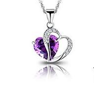 Women's Heart Purple Print Pendent Necklace