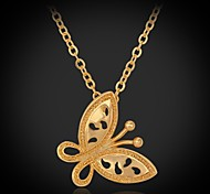 U7® Pendant Necklace Romantic Gifts 18K Real Gold Platinum Plated Butterfly Cute Fashion Jewelry