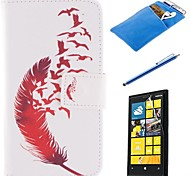 Red Feather Design PU Leather Full Body Case with Stylus、Protective Film and Soft Pouch for Nokia Lumia N630
