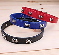 Adjustable Bone Pattern Pu Leather Collar for Pet Dogs(M,2x45cm)