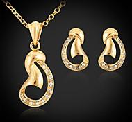 18K Gold Plated Choker Necklace Pendant Earrings Fashion Jewelry Sets Rhinestone Jewelry Gift