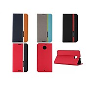 For Motorola Case Card Holder / with Stand / Flip Case Full Body Case Solid Color Hard PU Leather Motorola