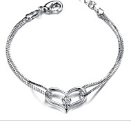 925 Sterling Silver Diamond Heart Bracelet