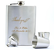 Personalized Gift 6 Piece  8oz Stainless Steel Hip Flask Set -ThankYou