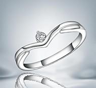 weise Zircon in der Mitte Silber Statement Ring für Frauen (1 PC)