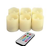 conjunto de control de cambio de color de plástico 6 remot llevó velas votivas con mando a distancia y temporizador