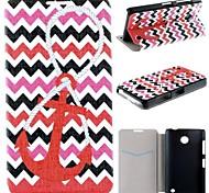 patrón ancla de mar rojo pu funda de piel de todo el cuerpo con ranura para tarjeta para Nokia Lumia 630 635 630 ds 630 dual sim