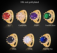 U7® New Trendy Fashion Rings 18K Real Gold Plated 7 Colors AAA+ Cubic Zironia Engagement Band Ring For Women