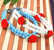 Dog Collar / Necklace Adjustable/Retractable / Pearl / Flower White / Blue Plastic