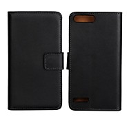 Solid Color Genuine Leather Full Body Case with Stand and Card Slot for Huawei G6