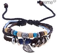 Men's Lureme Amber Random Pendant Braided Leather Bracelet (Random Color)