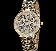 Women's Leopard Print Pattern Diamond Case Gold Alloy Band Quartz Wrist Watch (Assorted Colors) Cool Watches Unique Watches