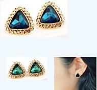cristal de la moda ol pendientes de piedras preciosas triangulares # 11-1