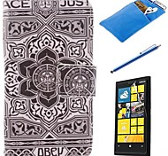 Large Black Flower Pattern PU Leather Full Body Case with Stylus、Protective Film and Soft Pouch for Nokia Lumia N630