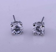 Fashion Jewelry Square Cubic Zirconia Imitation Rhodium Plated Stud Earring E171