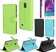 solido pu custodia in pelle di colore con la pellicola e lo stilo per Samsung Galaxy Note 4 (colori assortiti)