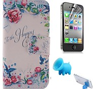 le motif de rose cuir PU couverture complète du corps avec le porc reposer et film de protection pour iPhone 4 / 4S