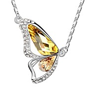 Into Butterfly Xmas Gift Short Necklace Plated With 18K True Platinum Light Topaz Austrian Crystal Rhinestone