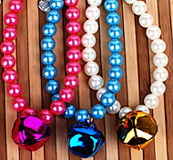 Pearl Necklace With Large Bell for Pet Dogs and Cats