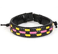 High Fashion Leather Braided Bracelet Yellow Pink Color(1 Piece)