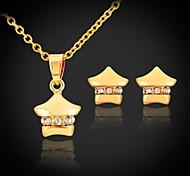 u7® estrellas lindo colgante aretes de joyería del oro del platino 18K plateado gargantilla de diamantes de imitación collar jewellry chica