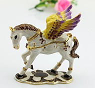 White Flying Horse Pegasus metal Jewelry Trinket decorated figurine 3.5""