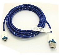 2M 6.6FT Braided Micro USB Sync Data Cable USB Charger for Samsung S2/S3/S4 HTC Sony LG All Android Phones (Blue)