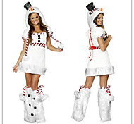 White Fur Miss Santa Dress Adult Christmas Woman's Costume