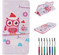 Owls Wear Santa Hat Pattern PU Leather Full Body Case with Touch Pen for iPhone 6