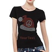 personalisierte Strass t-shirts Weihnachtshut Musterfrauen Baumwollkurzschlußhülsen