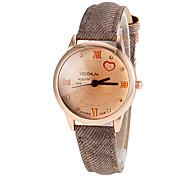 Women's Round Roman Number Dial PU Band Quartz Wrist Watch (Assorted Colors)