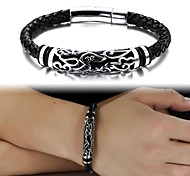 Leather Woven Fine Titanium Steel Bracelet