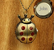Personalized Gift Alloy Ladybug Design Engraved Pocket Watch with 78cm Chain Necklace