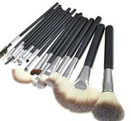 18PCS  Black Bar Makeup Brush Set with PU Leather White Pouch