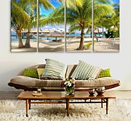 E-HOME® The Beach Clock in Canvas 4pcs