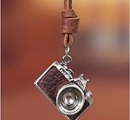 moda retro colar europeu liga couro marrom pendant câmera (1 pc)