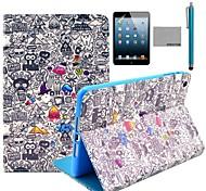 tirón del cuero de coco patrón pintada de la historieta Fun® pu Caso del soporte con el cine y la aguja para el iPad de Apple de mini