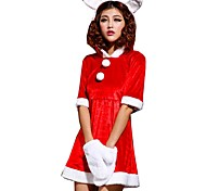 Women's Christmas Cute Rabbit Lovely Girl Short Sleeve Dress