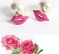 moda pérola personalidade brincos lábios vermelhos # 15-1